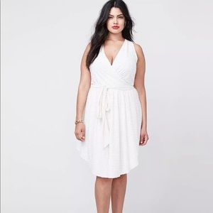 Rachel Roy White Sleeveless Halter Wrap Dress